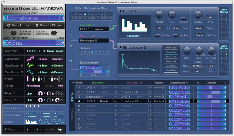 Novation Ultranova Software Editor
